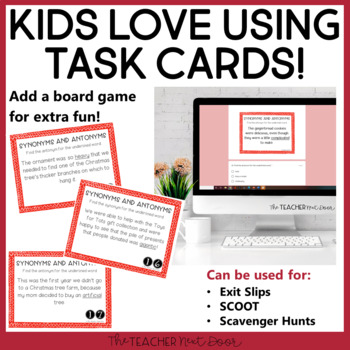 Task Cards for Christmas Synonyms and Antonyms for 3rd - 5th Grade
