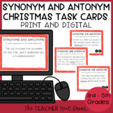 Christmas Synonym and Antonym Task Cards | Holiday Synonyms and Antonyms