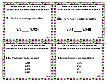 Task Cards for Comparing and ordering decimals to the thousandths