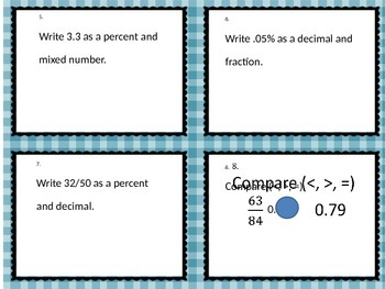 Task Cards for Converting and Ordering Fractions, Decimals and Percents