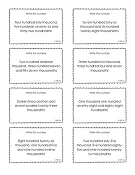 Task Cards for Decimal Place Value