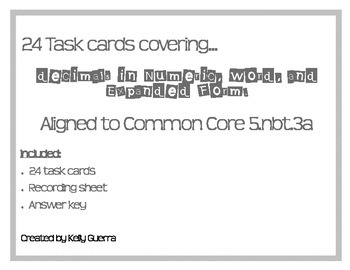 Task Cards for Decimals in Numeric, Word, and Expanded Form