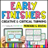 Task Cards for Early Finishers *Creative and Critical Thinking, Writing Prompts*