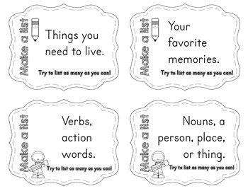 Task Cards for Early Finishers - Make a List