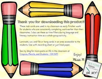 Task Cards for Early Finishers - Writing Practice