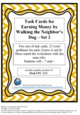 Task Cards for Earning Money By Walking the Neighbor's Dog