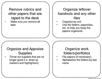 Task Cards for End of the Year Classroom Cleanup and Organization