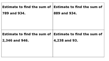 Task Cards for Estimating and Finding the Sum of 3 and 4 Digits