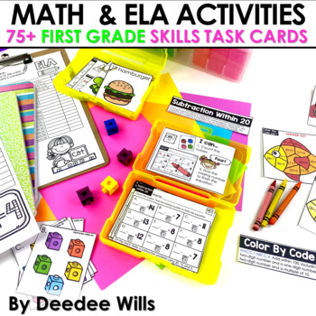 Task Cards for First Grade | Math and Literacy BUNDLE