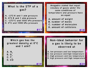 Task Cards for Gas Laws with Answer Key and Student Response Sheet