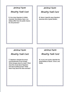 Animal Farm Task Cards