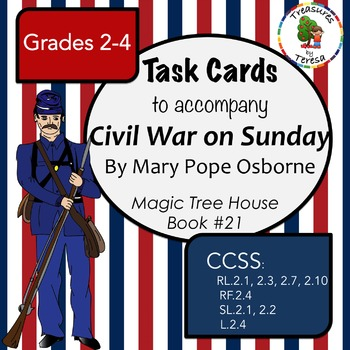 Discussion Task Cards-Magic Tree House-Civil War on Sunday