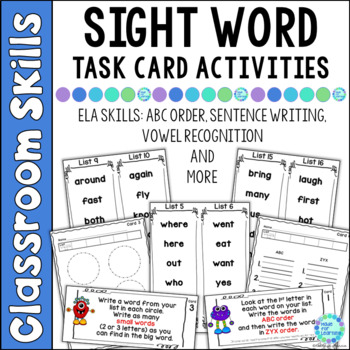 Task Cards for Sight Words...Monster Theme
