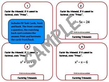 Task Cards - Factoring Trinomials - High School Math