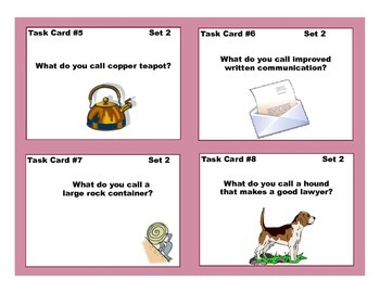 Task Cards for Hink-Pinks and Hinky-Pinkies Grades 2-4