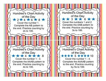 72 Activity Task Cards for Hundred's Chart