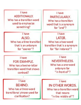 Transitional Words Task Cards