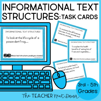 Task Cards For Informational Text Structures For 3rd 5th Grade