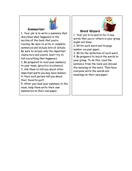 Task Cards for Literature Circle Roles