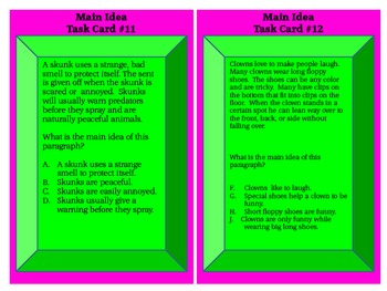 Task Cards for Main Idea