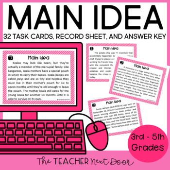 Task Cards for Main Idea for 3rd - 5th Grade