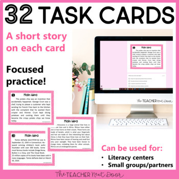 Main Idea Task Cards: Print and Digital for Google Classroom   Distance Learning