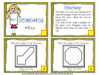 Area and Perimeter Task Cards using Geoboards