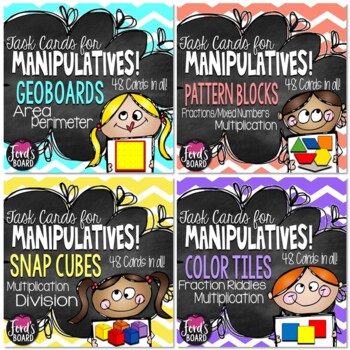 Using Manipulatives with Math Task Cards Bundle