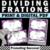 Dividing Fractions by Fractions, 5th Grade Math Review, Fraction Games SCOOT