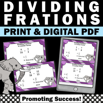 Dividing Fractions Task Cards 5th Grade Math Centers Games