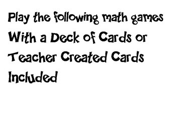 Task Cards for Math Stations/Centers
