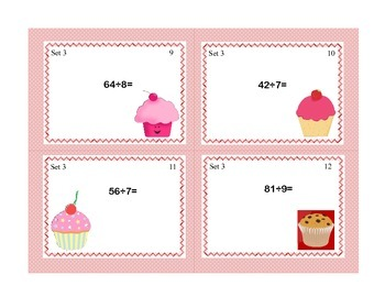 Task Cards for Multiplication and Division Practice Grade 3-Cupcake Theme