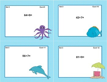 Task Cards for Multiplication and Division Practice Grade 3-Ocean Theme