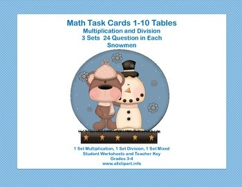 Task Cards for Multiplication and Division Practice Grade 3 Snowmen Fun