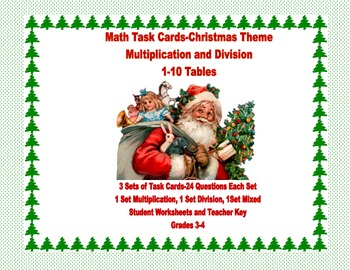 Multiplication and Division Practice-Task Cards- Grades 3-4 Christmas