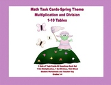Task Cards for Multiplication and Division Practice Grades 3-4 Spring Theme