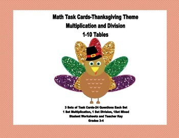 Multiplication and Division Practice Grades 3-4 Thanksgiving-Task Cards