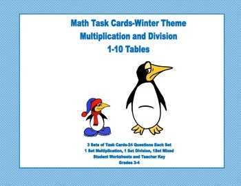Task Cards for Multiplication and Division Practice Grades 3-4 Winter Theme