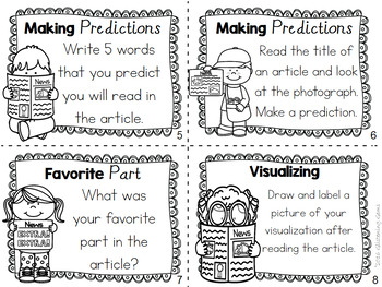 Literacy Center Task Cards using Newspapers