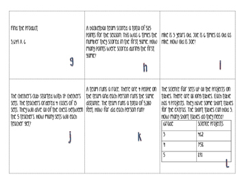 Task Cards for PARCC Prep multiplication and division