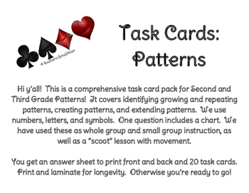 Task Cards for Patterns