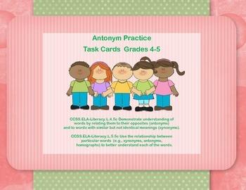 Antonym Practice Task Cards Grades 4-5