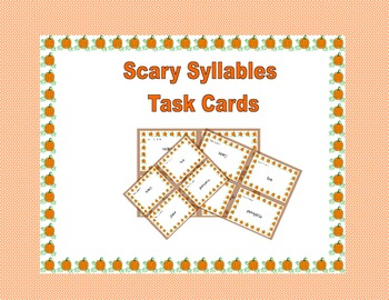 Task Cards for Practice Counting Syllables-Halloween Fun Scary Syllables