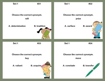 Synonyms- Grades 4-5-Task Cards for Practice