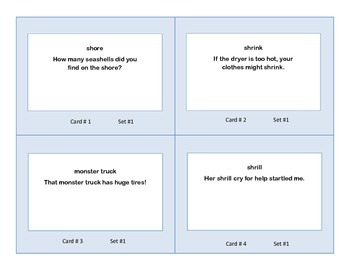 Task Cards for Practice in The Parts of Speech Grades 2-3 Set 2