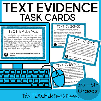 Text Evidence Task Cards: Print and Digital | Distance Learning