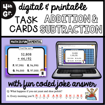 Task Cards for Review of Addition and Subtraction of Greater Numbers