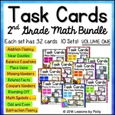 Task Cards for Second Grade Basic Math Facts Fluency and M