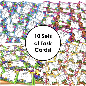 Task Cards for Second Grade Basic Math Facts Fluency and More Volume 1 Bundle