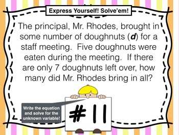 4th Grade Task Cards for Solving Word Problems Using Algebraic Equations